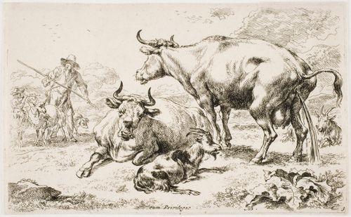 Virtsaava lehmä (La vache couchée près de la vache qui pisse