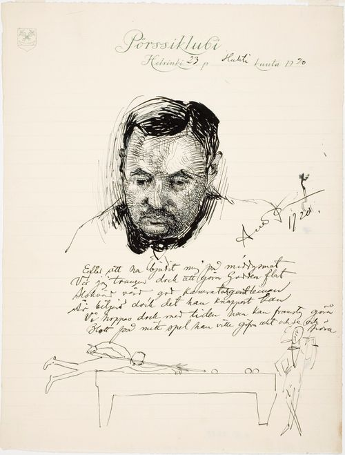 Tri Pehr Gadd ; Muotokuvan alla runo ja kuva biljardin peluusta