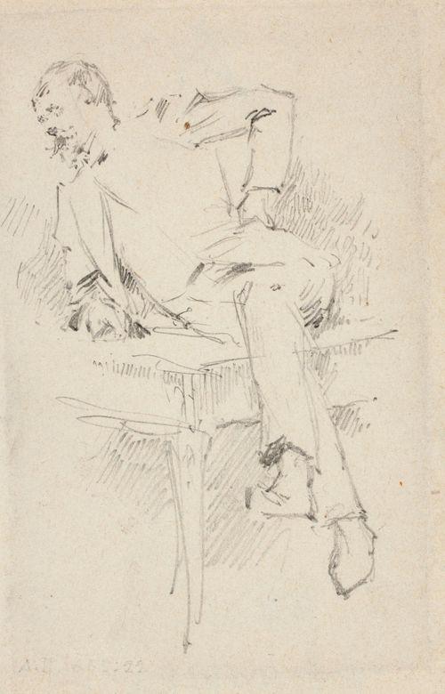 Pöydän kulmalla istuva, käsivarteensa nojaava mies