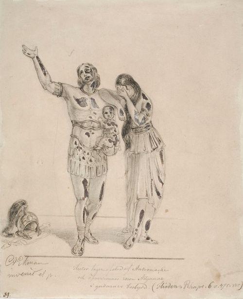 Hektor ja Andromakhe hyvästelevät painautuen toisiaan vasten. Hektor pitää poikaansa käsivarrellaan ja Andromakhe kätkee kasvonsa käsiinsä.