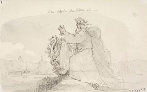 Vanha Rheinin jumala lyyra ja viinipikari kädessään, taustalla Rheinin virta jyrkkine rantoineen