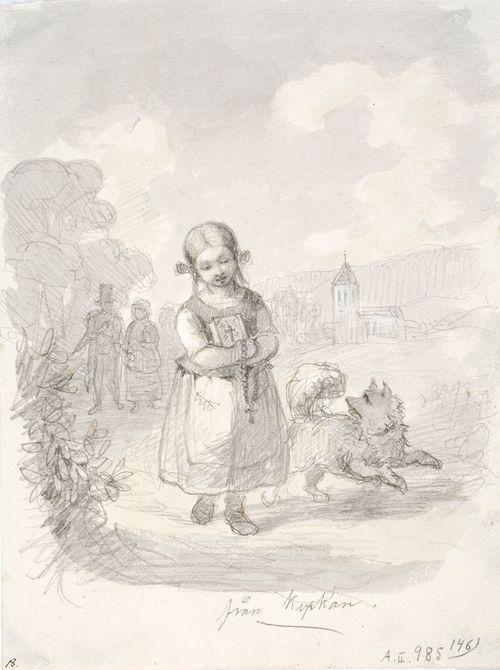 Tyttö juoksevan koiran kanssa, taustalla oikealla kirkko, vasemmalla vanhahko pariskunta