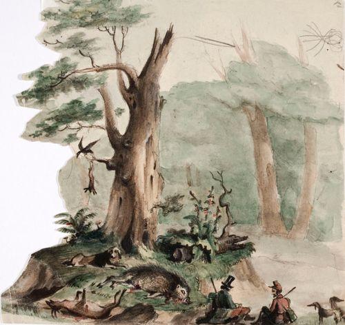 Kaksi metsästäjää koirineen ammutun riistan vieressä kulissimaisessa maisemassa