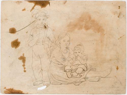 Smålantilaiset lapset, tyttö lapsi sylissä sekä seisova poika vierellään