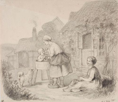 Talonpoikaisnainen kylvettämässä lastaan tuvan pihassa, oikealla maassa istuva neulova nainen, vasemmalla koira.