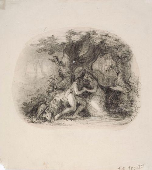 Rakastavaiset muhkuraisen tammen alla, vasemmalla ammuttu peura ja jousipyssy