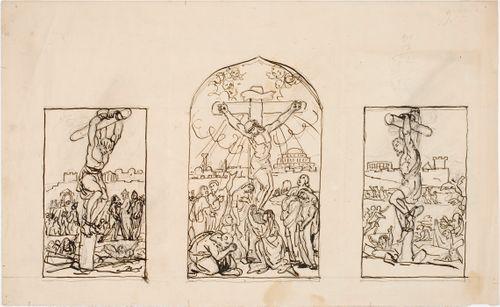 Kristus ristillä kolmen ryövärin ympäröimänä, triptyykki