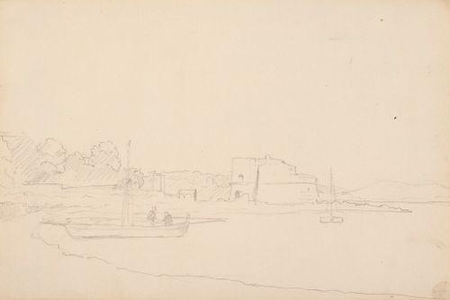 Merenlahti, purjeveneitä, rannalla vanha linna