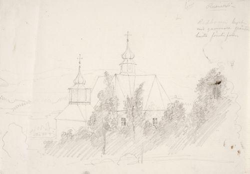 Maisema, jonka keskellä on kirkko