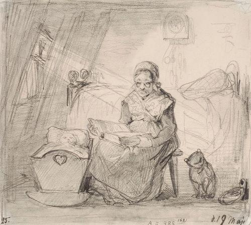 Interiööri, jossa vanha mummo lukee raamattua ja vahtii kehdossa olevaa lasta. Vasemmalla ikkuna, josta aurinko paistaa sisään.