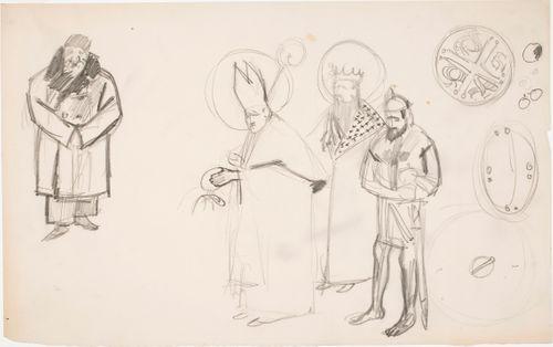 Paavi, kuningas ja ritari sekä vanha herra talvipalttoo päällä, harjoitelmia