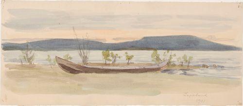 Maisema, vene rannalla