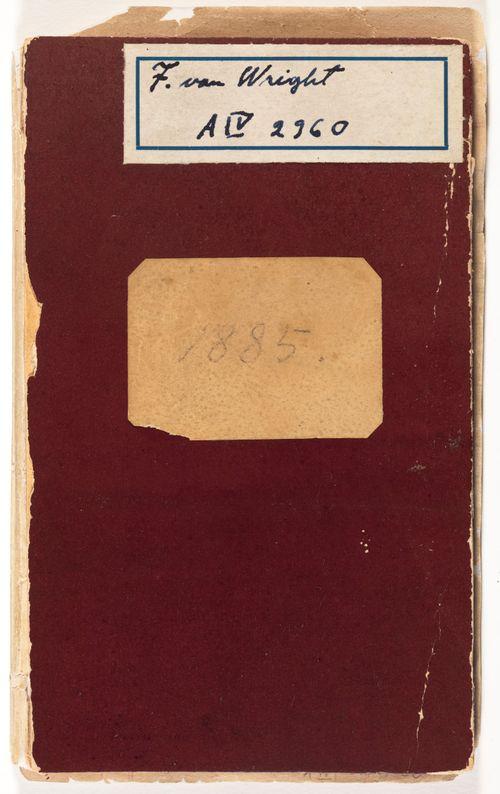 Luonnoskirja, jonka yhteyteen sidottu vuoden 1885 almanakkakalenteri