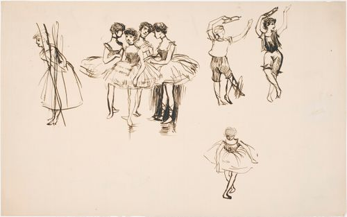 Neljä balleriinaa ja muita tanssijoita, harjoitelmia