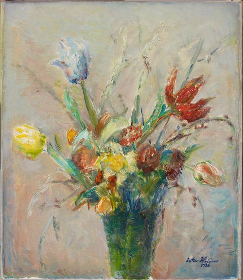 Kukkakimppu maljakossa (Pääsiäiskimppu)