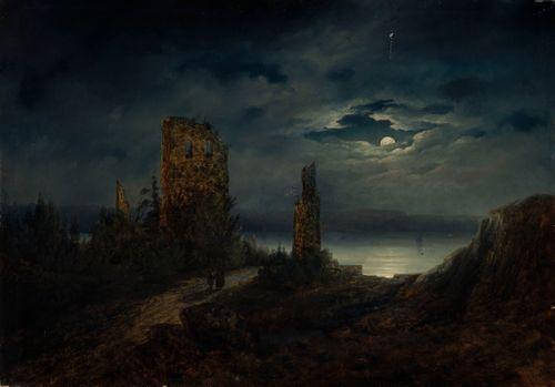 Stegeborgin linnan rauniot kuutamolla