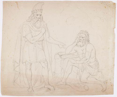 Kaksi miestä, ilmeisesti muinaisskandinavisen mytologian hahmoja