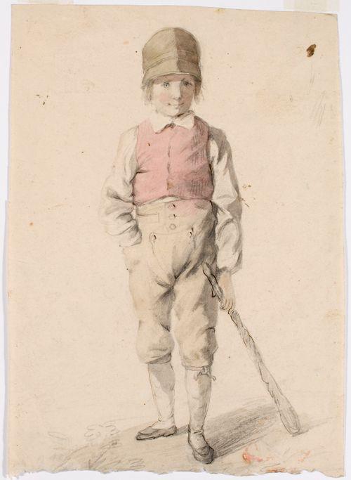 Seisova poika karttu vasemmassa kädessä