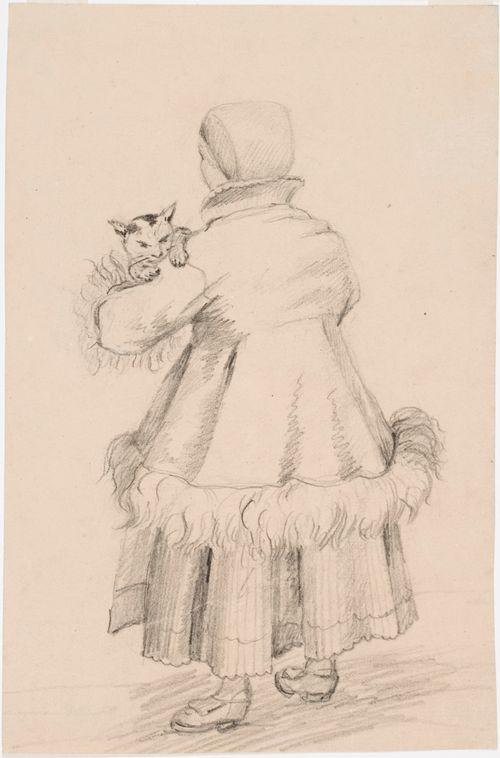Selin seisova taalalaisnainen kissa käsivarsillaan