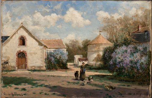 Scenery outside Paris with woman and animals
