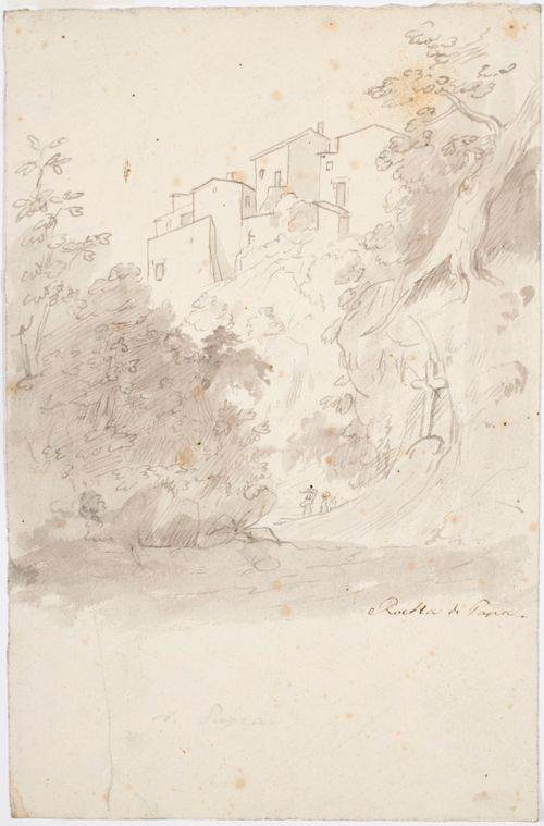 """""""Rocca di Papa"""", näköala yli vuoren, jossa on rakennuksia"""