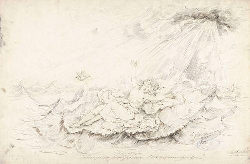 """Ilmatar huutaa ukkoa ; Originaalipiirustus piirrossarjaan """"Kalewala, Finsk National-dikt, framställd i teckningar af R.W.Ekman"""" (vihko I)"""