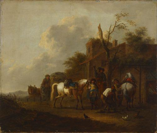 Kolme ratsastajaa pajan edustalla