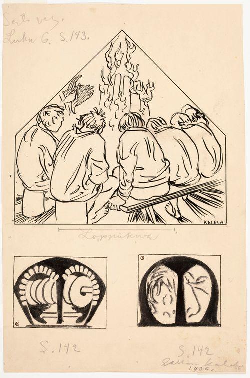 Veljekset pystyvalkean ääressä, 6. luvun loppukuva ja 2 alkukirjainta