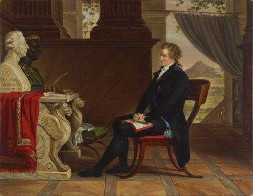 Kreivi Gustaf Mauritz Armfelt mietiskelemässä Kustaa III:n ja Caesarin rintakuvien edessä