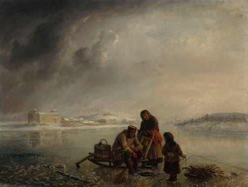 Talvikalastusta Turun linnan ulkopuolella