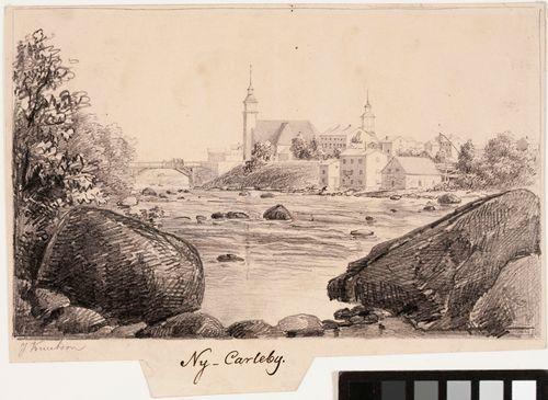 Uusikaarlepyy, originaalipiirustus teokseen Finland framställdt i teckningar
