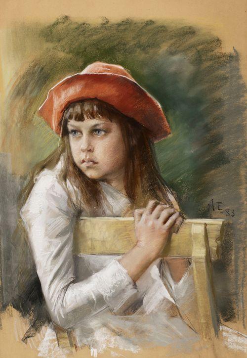 Taiteilijan sisaren Berta Edelfeltin muotokuva lapsena