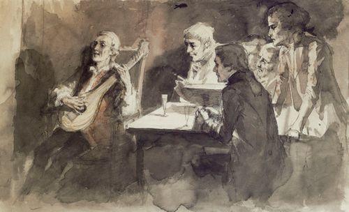 Bellman laulaa viimeisen kerran ystävilleen, harjoitelma