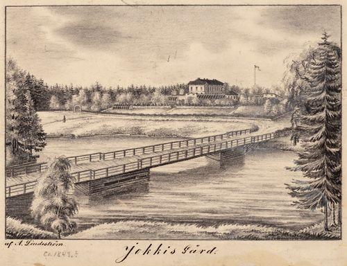 Jokioisten kartano, originaalipiirustus teokseen Finland framställdt i teckningar