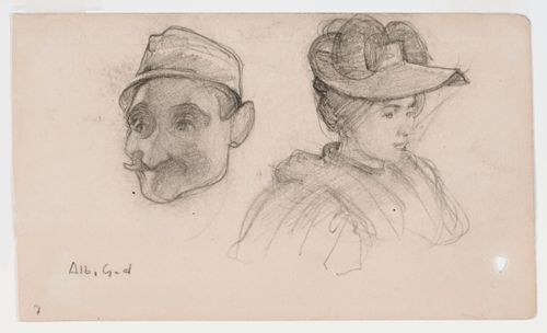 Hattupäisen miehen pää ja hattupäisen naisen rintakuva, harjoitelmia