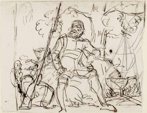 Vanha sotilas istumassa kivellä