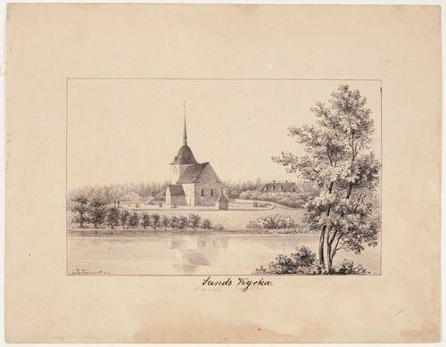 Sundin kirkko, originaalipiirustus teokseen Finland framställdt i teckningar