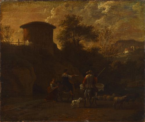 Rauniomaisema ja karjaa paimentava perhe