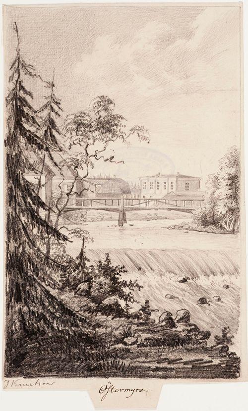 Seinäjoki, originaalipiirustus teokseen Finland framställdt i teckningar