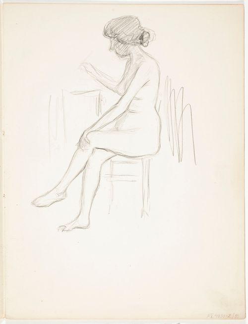 Istuva alaston nainen