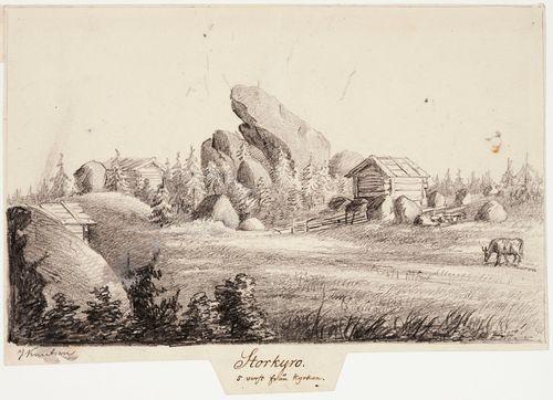 Isokyrö 5 virstaa kirkolta, originaalipiirustus teokseen Finland framställdt i teckningar