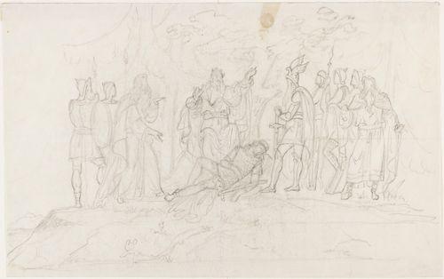 Kuningas ja hänen jalkojensa juuressa makaava nuori sotilas sekä heidän molemmilla puolillaan sotilaita ja pitkäpartaiset vanhat miehet