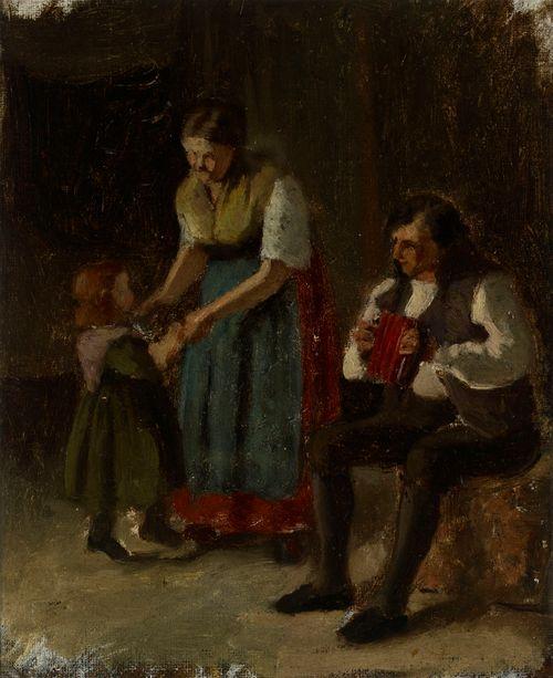 Äiti tanssii pikkutyttönsä kanssa, luonnos