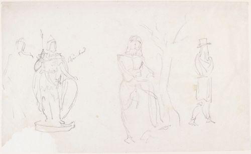 Lemminkäinen?, luonnos veistosta varten ; paperin oikealla puolella naisfiguuri ja miesfiguuri, joiden keskellä puu