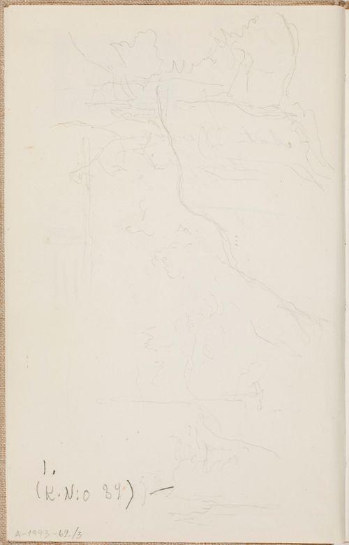 Maisema, kallioita, puita. Todennäköisesti n. 1925.