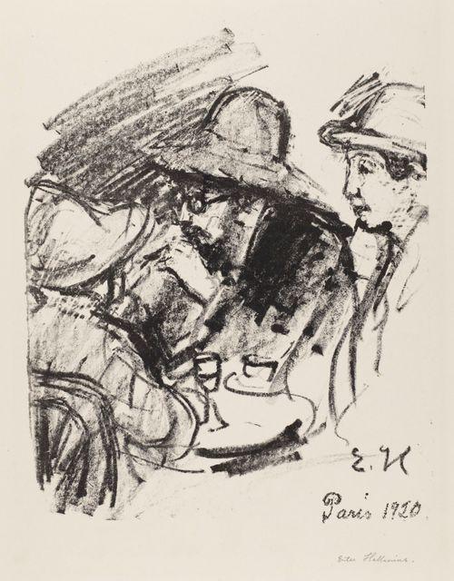 Kaksi miestä ja nainen kahvilapöydässä