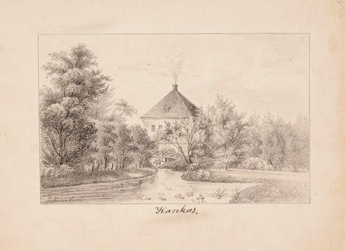 Kankaisten kartano, originaalipiirustus teokseen Finland framställdt i teckningar