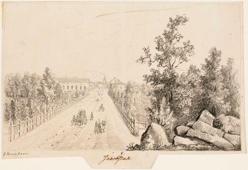 Pietarsaari, originaalipiirustus teokseen Finland framställdt i teckningar
