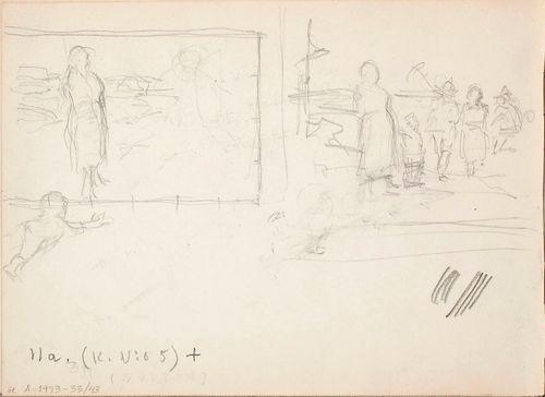 Maalaisidylli, kaksi harjoitelmaa. Todennäk. n. 1888.