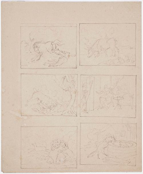 Kuusi kuvitusluonnosta, joista viisi eläinaiheista, yhdessä sairasvuode ja kuolema astumassa puoliavoimesta ovesta sisään